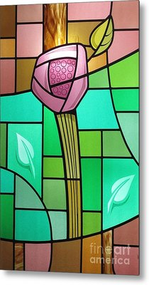 Metal Print featuring the glass art Arts And Crafts Rose by Gilroy Stained Glass