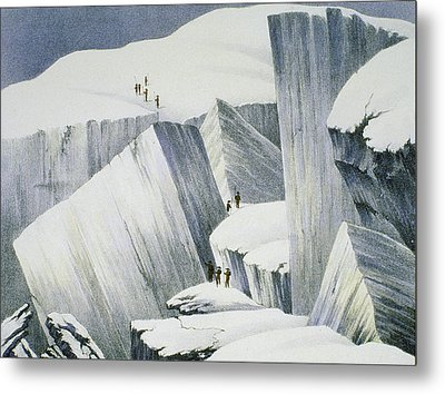 Ascending A Cliff, From A Narrative Metal Print by English School