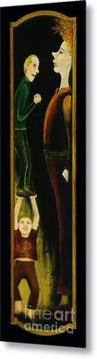 Metal Print featuring the painting Asking For A Raise. by Anna Skaradzinska