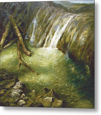 Metal Print featuring the painting At The Waterfall by Dmitry Spiros