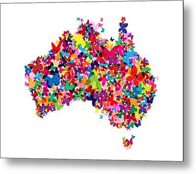 Australia Butterfly Map Metal Print by Michael Tompsett