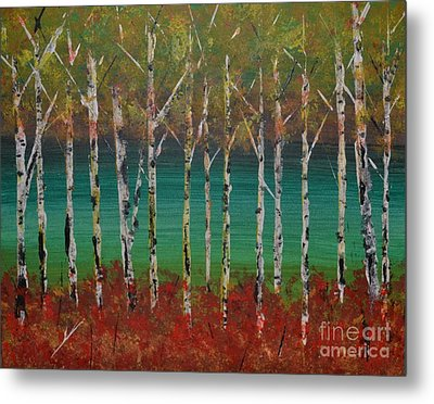 Autumn Birches Metal Print by Denise Tomasura
