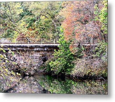 Autumn Bridge Metal Print by Melissa Stoudt