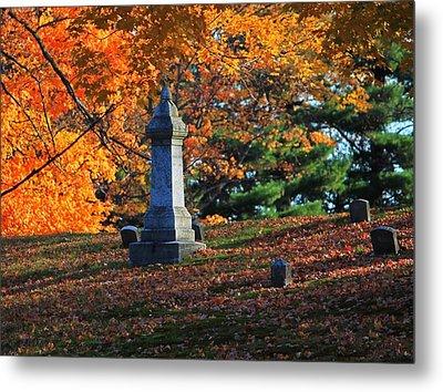 Autumn Cemetery Visit Metal Print