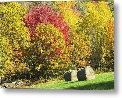 Autumn Hay Being Harvested In Maine Metal Print by Keith Webber Jr