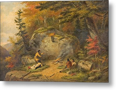 Metal Print featuring the painting Autumn In West Canada Chippeway Indians by Cornelius Krieghoff