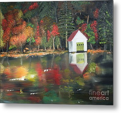 Metal Print featuring the painting Autumn - Lake - Reflecton by Jan Dappen