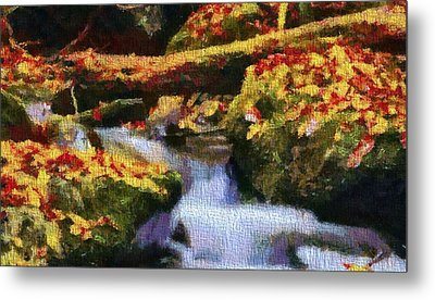 Autumn Waterfall Canvas Metal Print by Dan Sproul