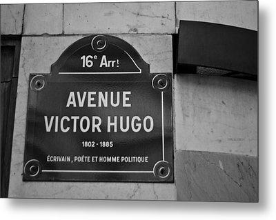 Avenue Victor Hugo Paris Road Sign Metal Print by Georgia Fowler