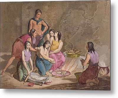 Aztec Women Making Maize Bread, Mexico Metal Print by Gallo Gallina