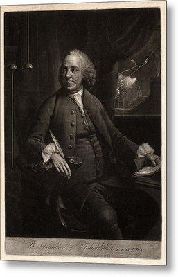 B. Franklin Of Philadelphia L.l.d. F.r.s.  M. Chamberlin Metal Print by Litz Collection