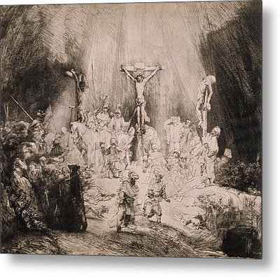 The Three Crosses, Circa 1660 Metal Print by Rembrandt Harmensz van Rijn