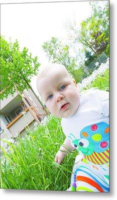 Baby Boy In A Garden Metal Print by Wladimir Bulgar