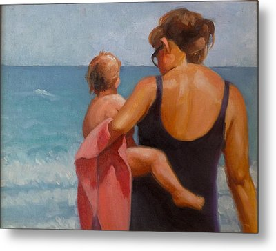 Baby's First Ocean Metal Print by Janet McGrath