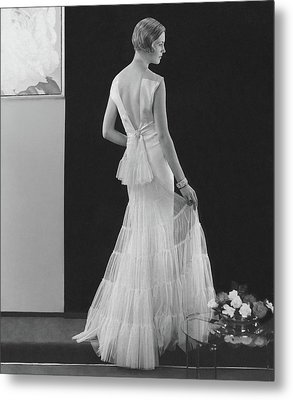 Back View Of A Model Wearing An Evening Gown Metal Print by Edward Steichen