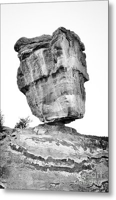 Balanced Rock In Black And White Metal Print