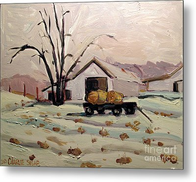 Bale Wagon  Metal Print by Charlie Spear