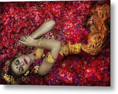 Balinese Woman Among The Flowers Metal Print