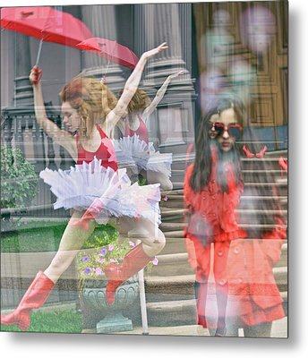 Ballerina With Mysterious Girl Metal Print by