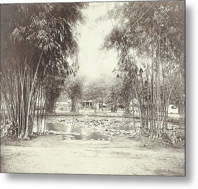 Bamboo Garden And Pond With A House, Anonymous Metal Print