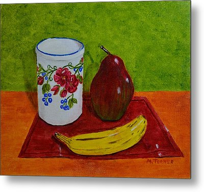 Banana Pear And Vase Metal Print