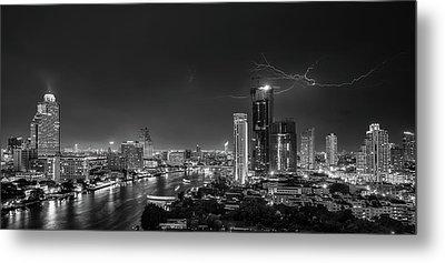 Bangkok Lightning Metal Print