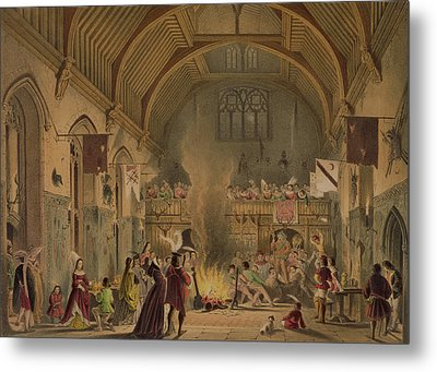 Banquet In The Baronial Hall, Penshurst Metal Print by Joseph Nash