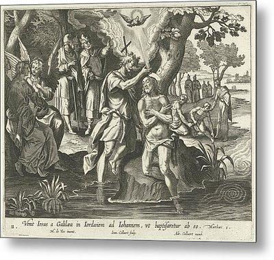 Baptism Of Christ, Jan Collaert II, Adriaen Collaert Metal Print by Jan Collaert (ii) And Adriaen Collaert