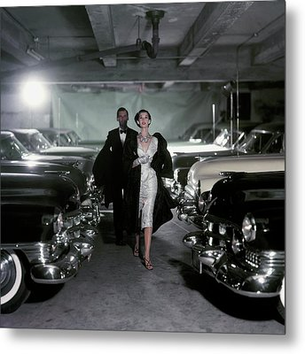 Barbara Mullen With Cars Metal Print by John Rawlings