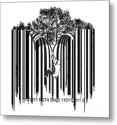 Barcode Graffiti Poster Print Unzip The Code Metal Print by Sassan Filsoof