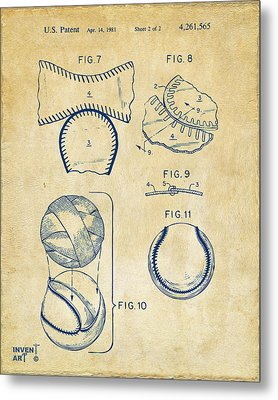 Baseball Construction Patent 2 - Vintage Metal Print by Nikki Marie Smith