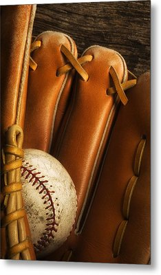 Baseball Glove And Baseball Metal Print by Chris Knorr