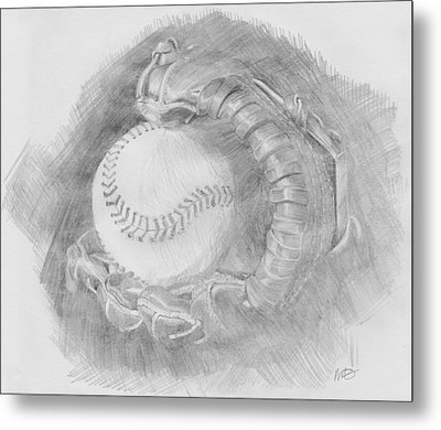 Baseball Glove Metal Print by Michele Engling