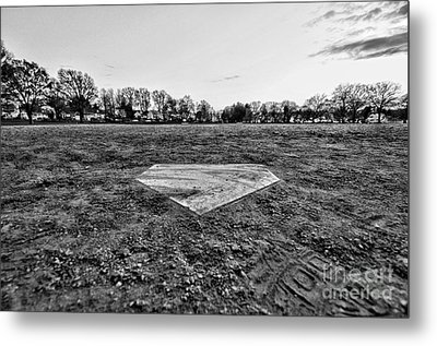 Baseball - Home Plate - Black And White Metal Print by Paul Ward