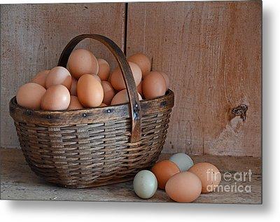 Basket Full Of Eggs Metal Print