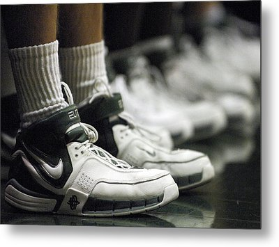 Basketball Shoes In A Row Metal Print by Replay Photos