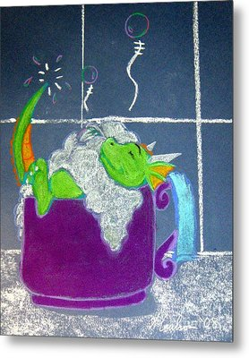Metal Print featuring the pastel Bath Time by Wendy Coulson