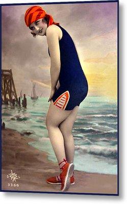 Bathing Beauty In Orange And Navy Bathing Suit Metal Print