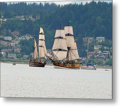 Battle At Sea Metal Print by Mary M Collins