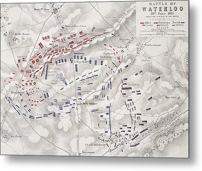 Battle Of Waterloo Metal Print by Alexander Keith Johnston