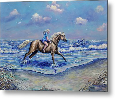 Beach Blonde Running Mates Metal Print by Gail Butler