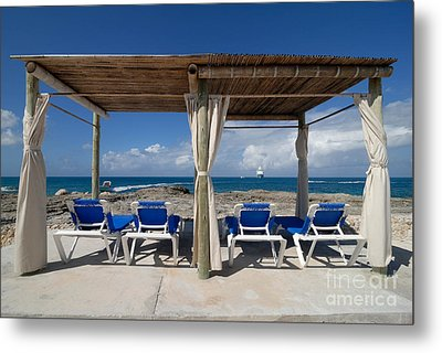 Beach Cabana With Lounge Chairs Metal Print by Amy Cicconi