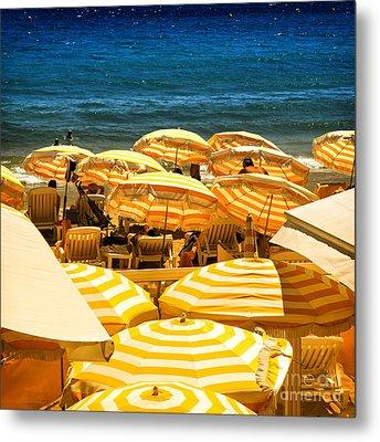 Beach In Cannes  Metal Print