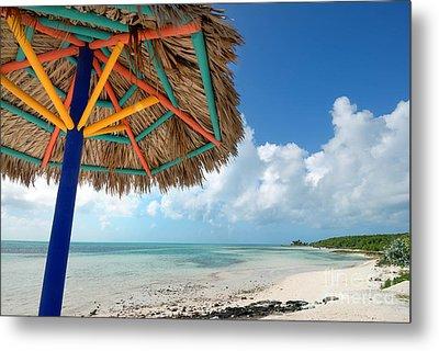 Beach Umbrella At Coco Cay Metal Print by Amy Cicconi