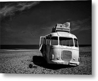 Beached Bus Metal Print