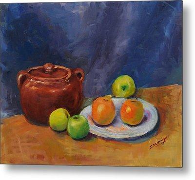 Bean Pot And Fruit Metal Print by Susie Jernigan