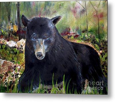 Bear Painting - Blackberry Patch - Wildlife Metal Print by Jan Dappen