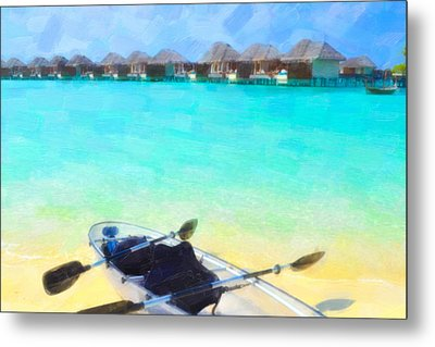 Beautiful Beach With Water Bungalows At Maldives Metal Print by Lanjee Chee
