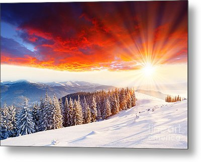 Beautiful Sunset In The Winter Metal Print by Boon Mee