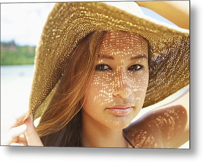 Beautiful Woman At The Beach Metal Print by Kicka Witte